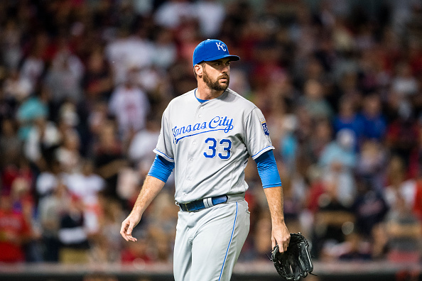 CLEVELAND, OH - SEPTEMBER 20: Relief pitcher Brian Flynn #33 of the Kansas City Royals leaves the game during the ninth inning against the Cleveland Indians at Progressive Field on September 20, 2016 in Cleveland, Ohio. The Indians defeated the Royals 2-1. (Photo by Jason Miller/Getty Images)