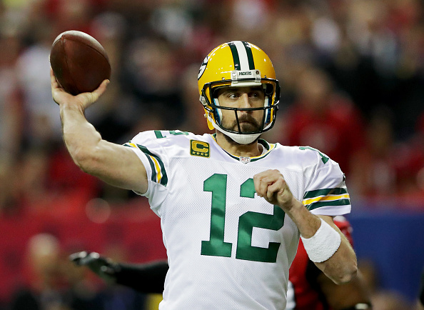 ATLANTA, GA - JANUARY 22:  Aaron Rodgers #12 of the Green Bay Packers looks to pass against the Atlanta Falcons during the third quarter in the NFC Championship Game at the Georgia Dome on January 22, 2017 in Atlanta, Georgia.  (Photo by Streeter Lecka/Getty Images)