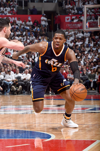 LOS ANGELES, CA - APRIL 15:  Joe Johnson #6 of the Utah Jazz handles the ball against the Los Angeles Clippers in Game One of Round One during the 2017 NBA Playoffs on April 15, 2017 at STAPLES Center in Los Angeles, California. NOTE TO USER: User expressly acknowledges and agrees that, by downloading and/or using this Photograph, user is consenting to the terms and conditions of the Getty Images License Agreement. Mandatory Copyright Notice: Copyright 2017 NBAE (Photo by Andrew D. Bernstein/NBAE via Getty Images)