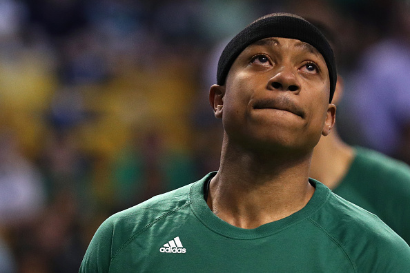 BOSTON, MA - APRIL 16: Isaiah Thomas #4 of the Boston Celtics looks on during warm ups before Game One of the Eastern Conference Quarterfinals against the Chicago Bulls at TD Garden on April 16, 2017 in Boston, Massachusetts. NOTE TO USER: User expressly acknowledges and agrees that, by downloading and or using this Photograph, user is consenting to the terms and conditions of the Getty Images License Agreement. (Photo by Maddie Meyer/Getty Images)