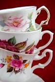 33274418 antique cup and saucer with flowers and a golden line