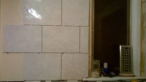 Bathroom reno   ceramic tile  wall  installing issues (13)