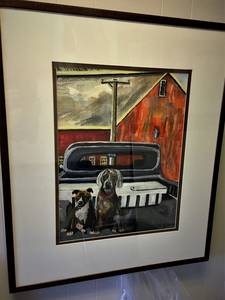 Maddy and sam on farm framed  watercolor painting