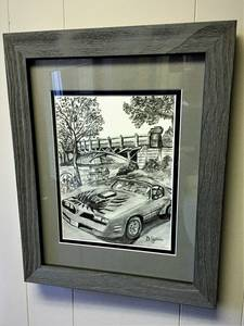 Martingale road framed graphite  drawing