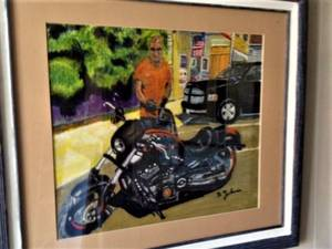 Mike and his bike portrait framed  watercolor painting