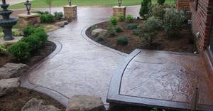 Textured walkway brown landscaping j h decorative concrete llc 56064