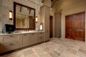 Wooden door in modern custom classic master bathroom