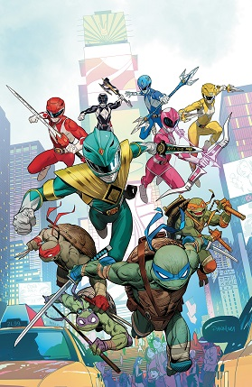 The Power Rangers and the TMNT #1 cover