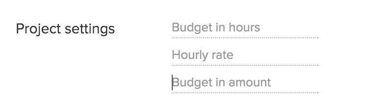 Project budget, amount, hours, hourly rate