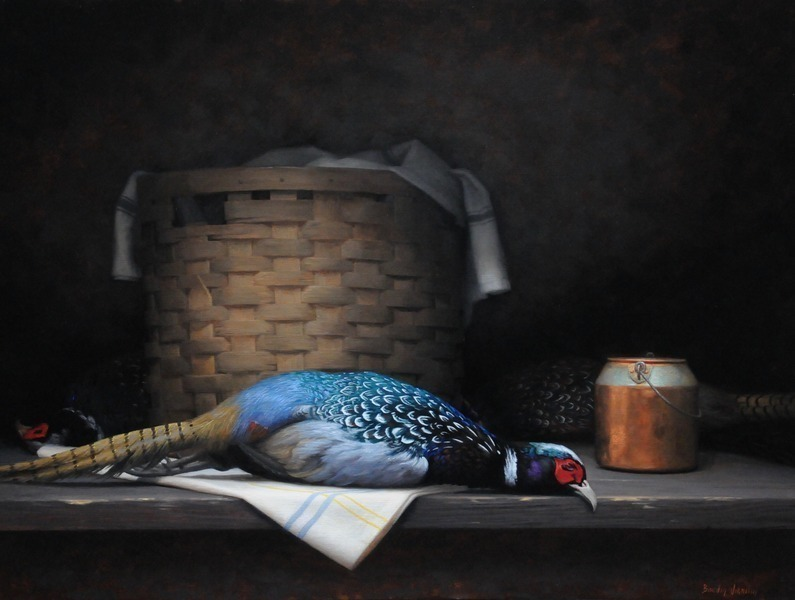Pheasant and Wicker Basket