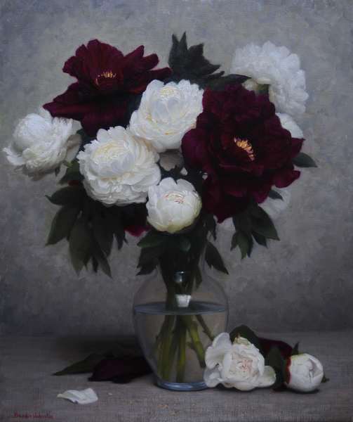 White and Red Peonies Bouquet
