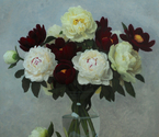 Yellow, White and Red Peonies Bouquet