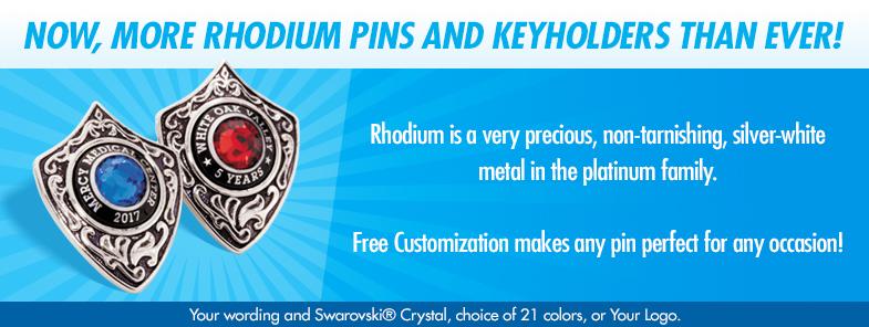 Rhodium Pins and Keyholders.