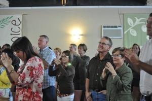 Congregation in worship