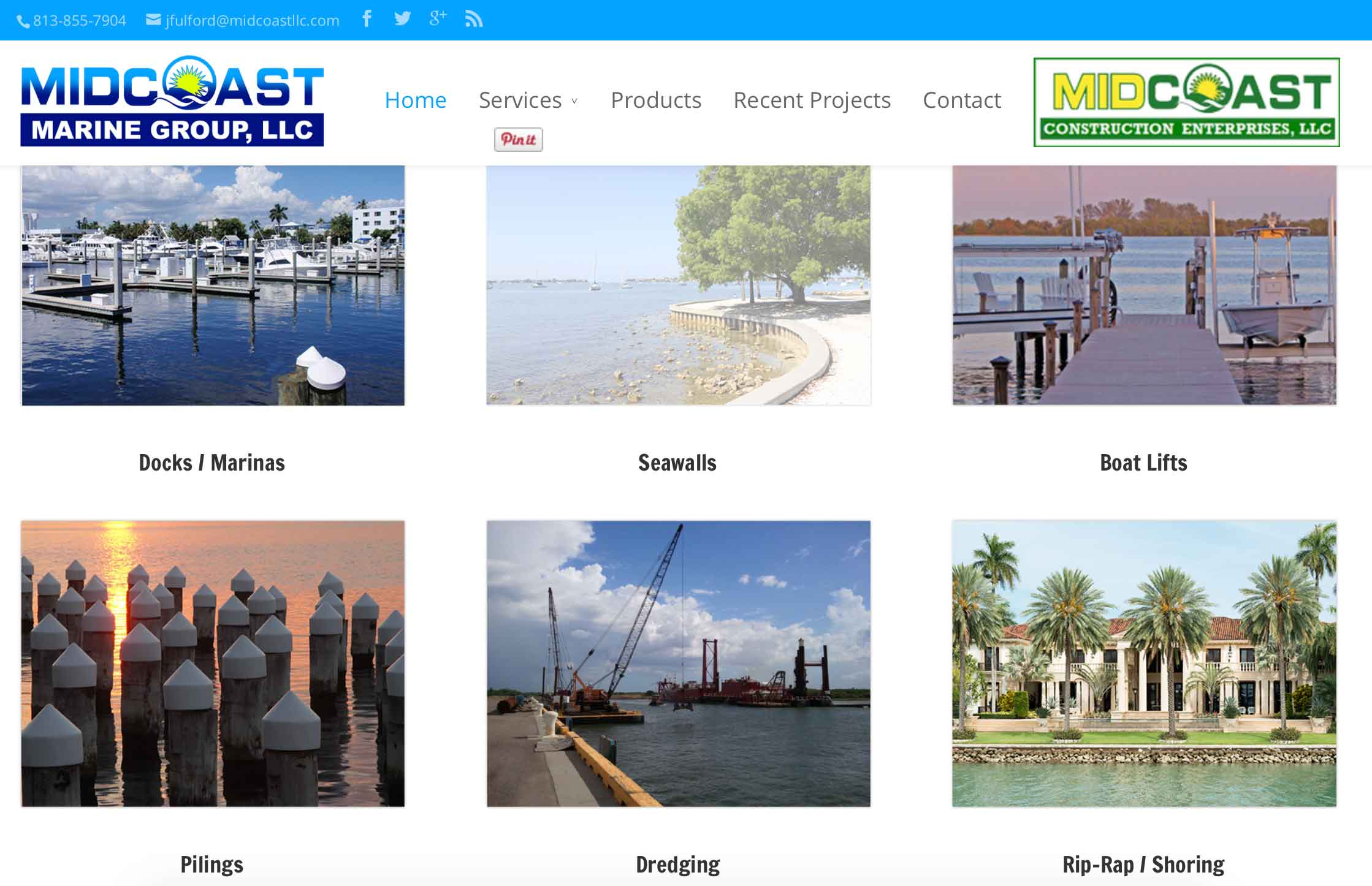 Custom website development by for Midcoast-LLC by Bright Think Marketing
