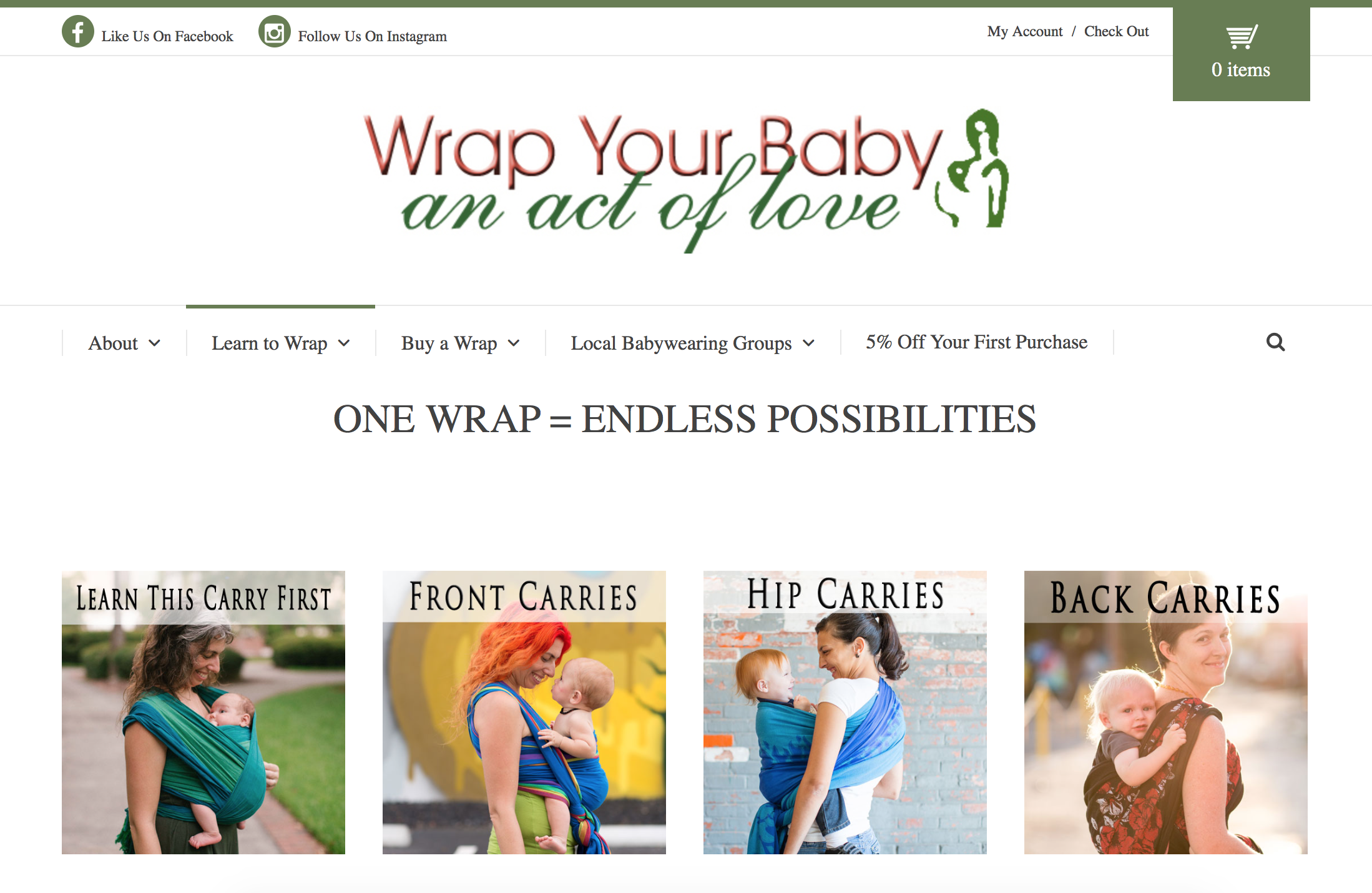 Custom Website by Bright Think Marketing - Wrap Your Baby 1
