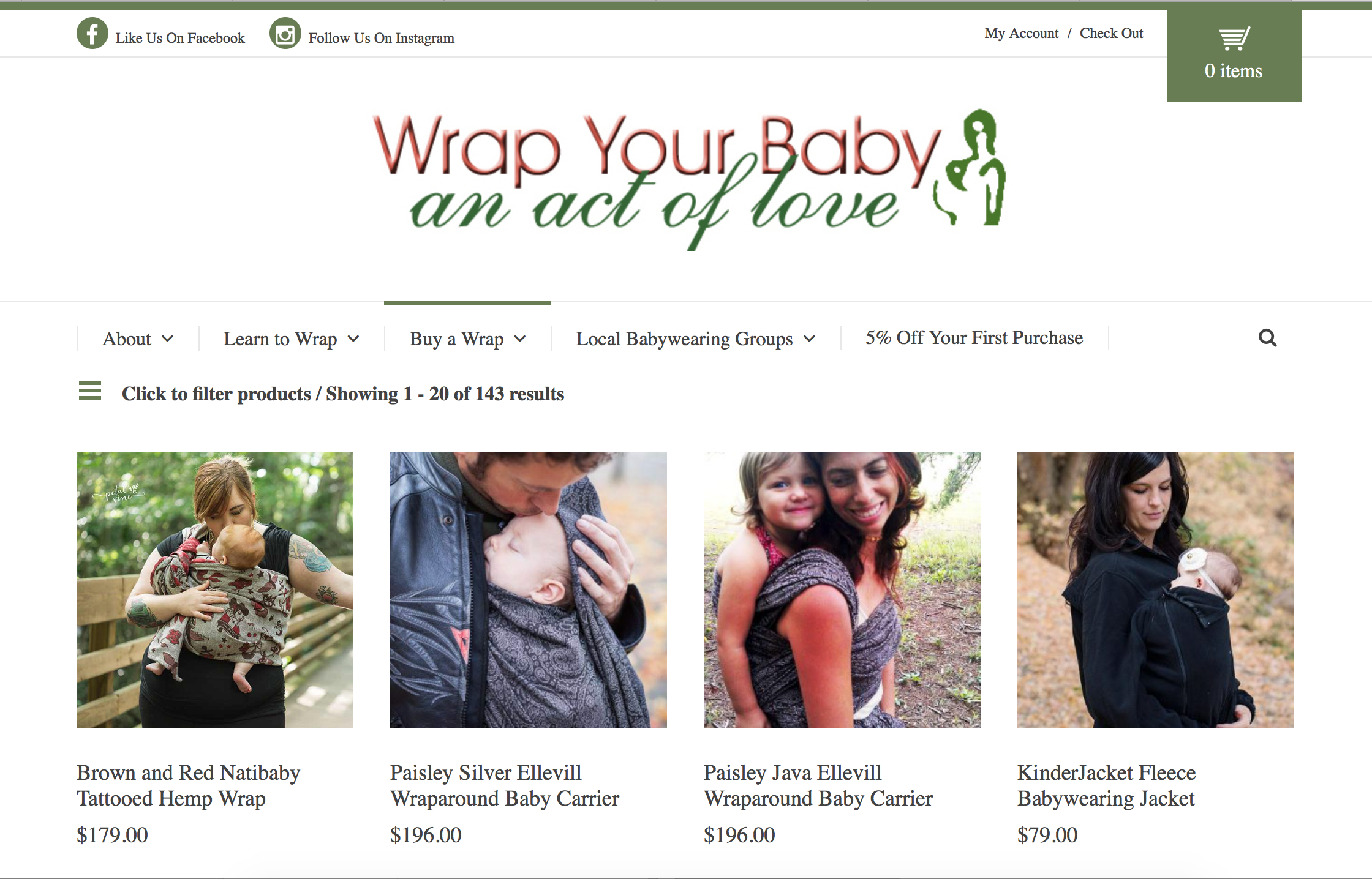 Custom Website by Bright Think Marketing - Wrap Your Baby 2