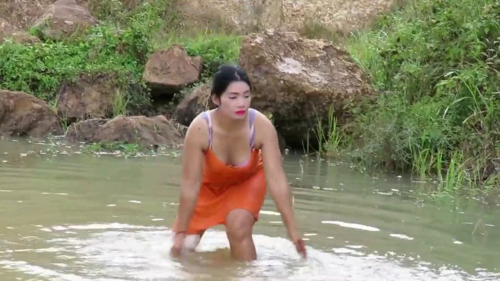 Beautiful Girl Fishing   Amazing Fishing at Battambang   How To Catch Fish By Hand Part54