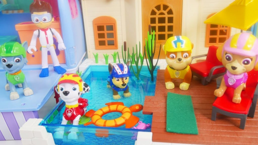 Learn Colors with Paw Patrol Pool Camper RV Swimming on Barbie Ryder Don't Wake Greedy Granny Skye!
