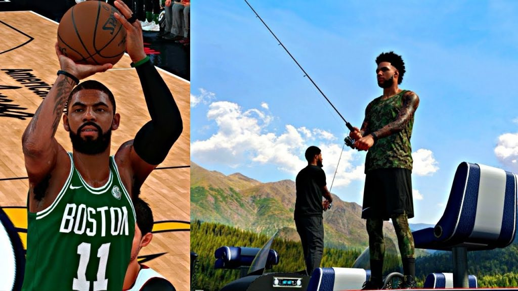 NBA 2K18 MyCAREER – FIRST GAME AGAINST KYRIE IRVING CELTICS! GOING FISHING WITH PAUL GEORGE!
