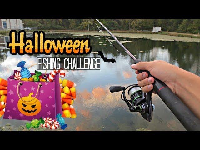 Halloween Candy Fishing Challenge!! (Craziness)