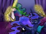 bed catscratchpaper highres magic princess_celestia princess_luna