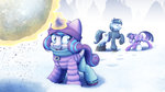 absurdres clothes highres magic ohemo princess_flurry_heart princess_twilight scarf shining_armor snow twilight_sparkle winter