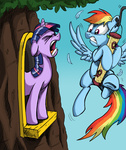bird_feeder highres mattings pegasi_acting_like_birds rainbow_dash twilight_sparkle