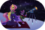 animated fluttershy princess_luna rizcifra scarf snow snowing sweater telescope twilight_sparkle winter