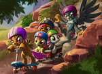 apple_bloom babs_seed cart cutie_mark_crusaders gabby harwick helmet highres scootaloo scooter sweetie_belle