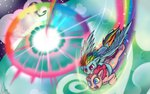 highres pinkie_pie rainbow_dash sonic_rainboom valcron
