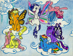 applejack flight_spell fluttershy lunafyre main_six pinkie_pie rainbow_dash rarity twilight_sparkle wings