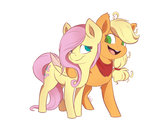 applejack evehly fluttershy highres