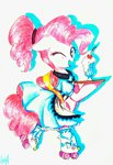 absurdres apron clothes dress highres liaaqila pinkie_pie rollerskates traditional_art