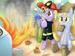 041744 cooking costume derpy_hooves dinky_hooves firefighter halloween highres muffin on_fire paper_bag
