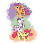 apple_bloom cutie_mark_crusaders imaplatypus scootaloo sweetie_belle
