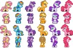 animated applejack fluttershy lowres main_six pinkie_pie pixel_art ponett rainbow_dash rarity twilight_sparkle