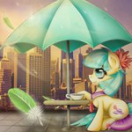 coco_pommel feather flying_feather highres manehattan thetarkaana umbrella