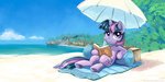 beach book highres kp-shadowsquirrel twilight_sparkle umbrella