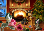 christmas christmas_tree cloudy_quartz filly fireplace gummy igneous_rock jiayi limestone_pie marble_pie parents pinkie_pie plushie present siblings snow toy train winter