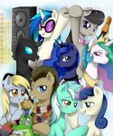 best_friends bow_tie changeling crown derpy_hooves evomanaphy glasses gummy highres lyra_heartstrings muffin octavia_melody princess_celestia princess_luna scarf speaker sunglasses sweetie_drops time_turner vinyl_scratch