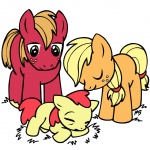 apple_bloom applejack baby big_macintosh colt filly megasweet sleeping