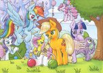 absurdres angel applejack ball balloons book croquet fluttershy glass highres magic main_six pinkie_pie rainbow_dash rarity spike traditional_art tree twilight_sparkle xeviousgreenii