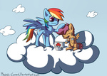 bandage cloud first_aid_kit phoenix-conrad rainbow_dash scootaffection scootaloo