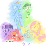 blossom book bubbles_(ppg) buttercup crossover eljonek fluttershy rainbow_dash the_powerpuff_girls twilight_sparkle
