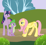cartoonlion fluttershy spike twilight_sparkle