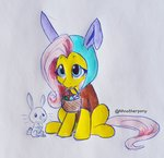 aanotherpony angel basket costume easter_egg egg fluttershy highres traditional_art