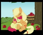 apple_bloom applejack apples barrel hugs riftryu sweet_apple_acres