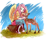 deer fluttershy humanized zobobafoozle