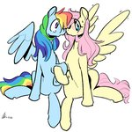 flutterdash fluttershy highres rainbow_dash rwlart shipping tears